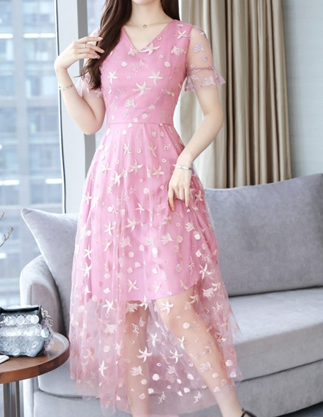 ピンク/グレー/ベージュ 有 刺繍 チュールスカート