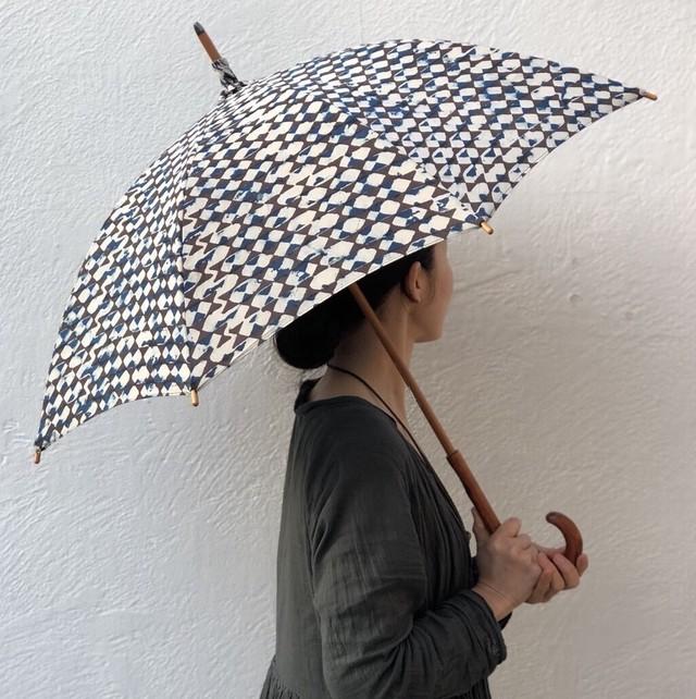 Mula:working cloth 日傘(傘袋付き)リボン×リボン・インディゴブルー×黒(自然染料)