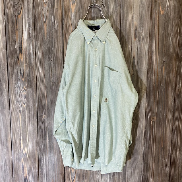 [TOMMY]thin green one point shirt
