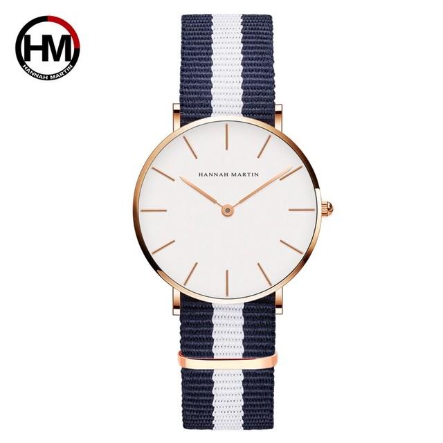 クラシックローズレッドダークブルーナイロンストラップジャパンクォーツムーブメントファッションカジュアル腕時計生地薄いキャンバス腕時計女性用CB36-F5