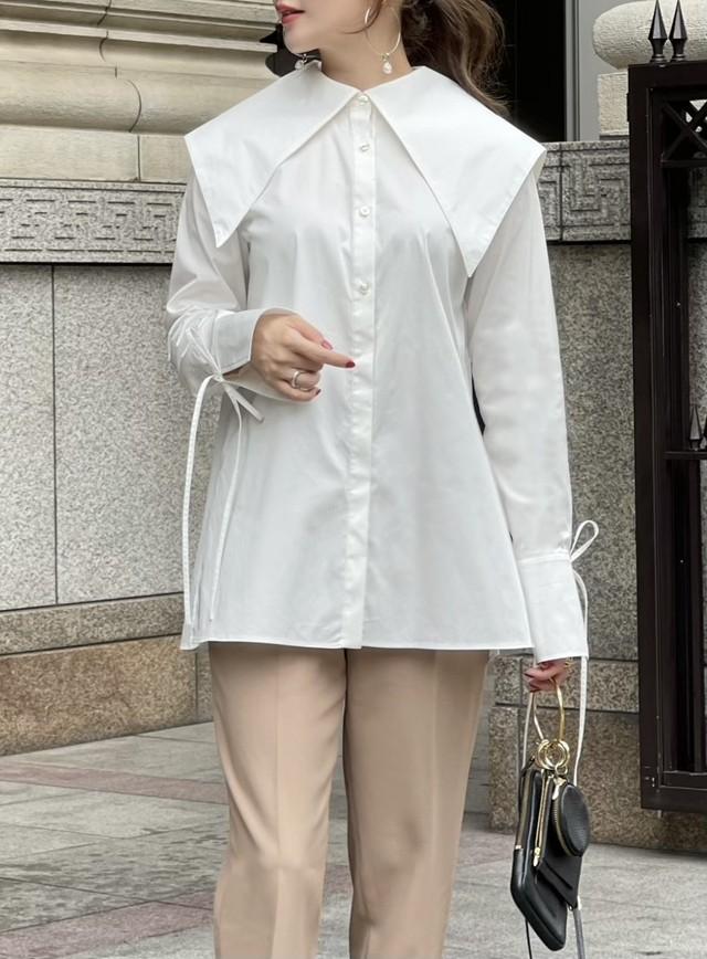 【予約】crepe collar blouse / white (11月中旬発送予定)