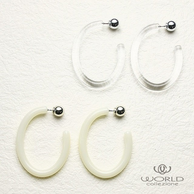 【worcolle】Bigクリア&オフホワイト・ピアス【summer sale!】(No.131262-63)