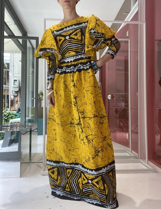 African batik frill shoulder dress