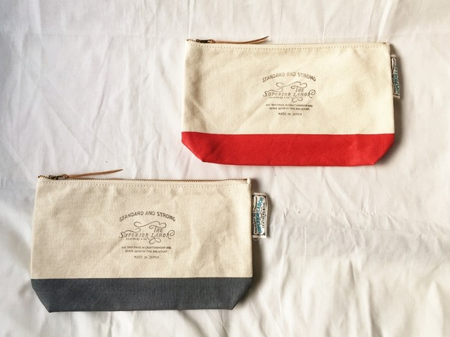 THE SUPERIOR LABOR leather patch pouch L / レザーパッチポーチ