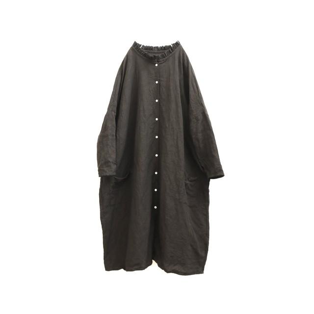 黒リネンフリル襟シャツワンピース