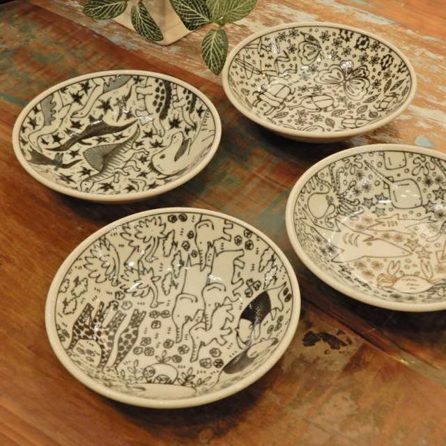美濃焼 いきものずかんミニ深皿 全4種