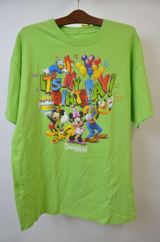 【XLサイズ】 DISNEY LAND ITS MY BIRTHDAY TEE ディズニー バースデイ 半袖Tシャツ GREEN 400601190736