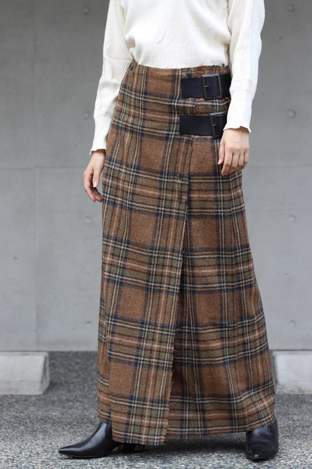 【Needles】wrap skirt wool plaid tweed-brown