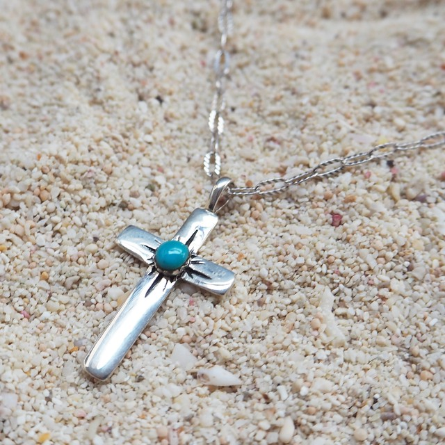 Turquoise Motif Cross Pendant《SILVER925》18380338