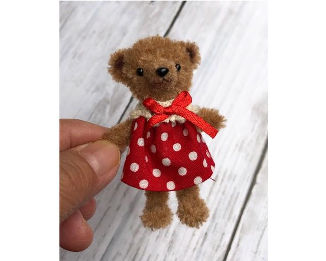 dollnodollお人形のためのテディベア【チョコ赤ドットワンピ】