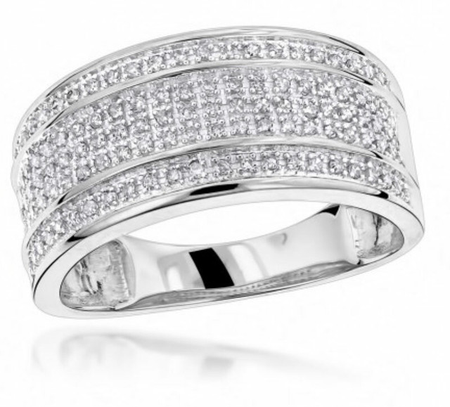 UNIQUE WEDDING BANDS 10K WHITE GOLD 5 ROW DIAMOND RING