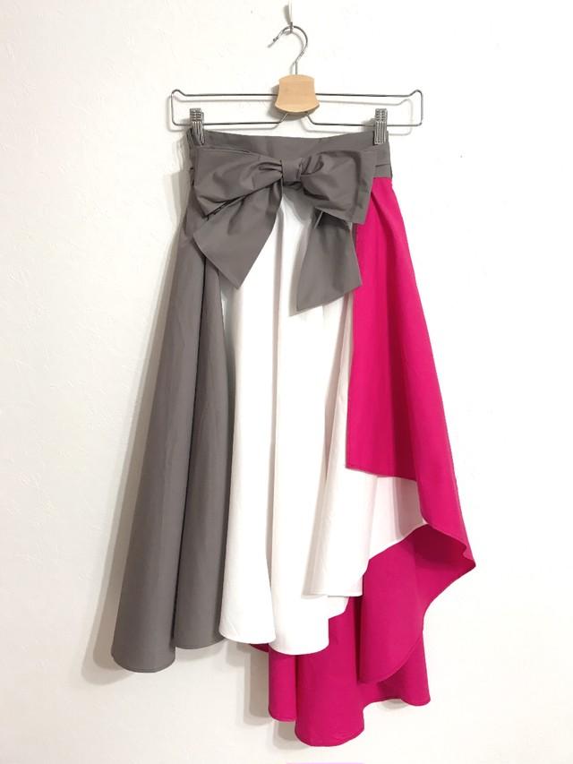 再再再入荷★配色切り替えのフィッシュテールスカート ピンク