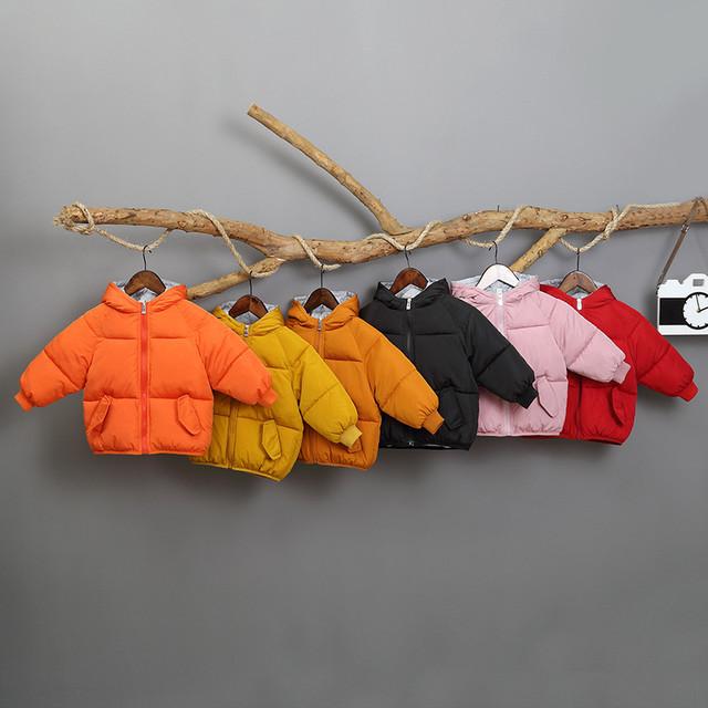 【子供服】可愛いプリントマルチカラーフード付き暖かいダウンコート・トップス24304259