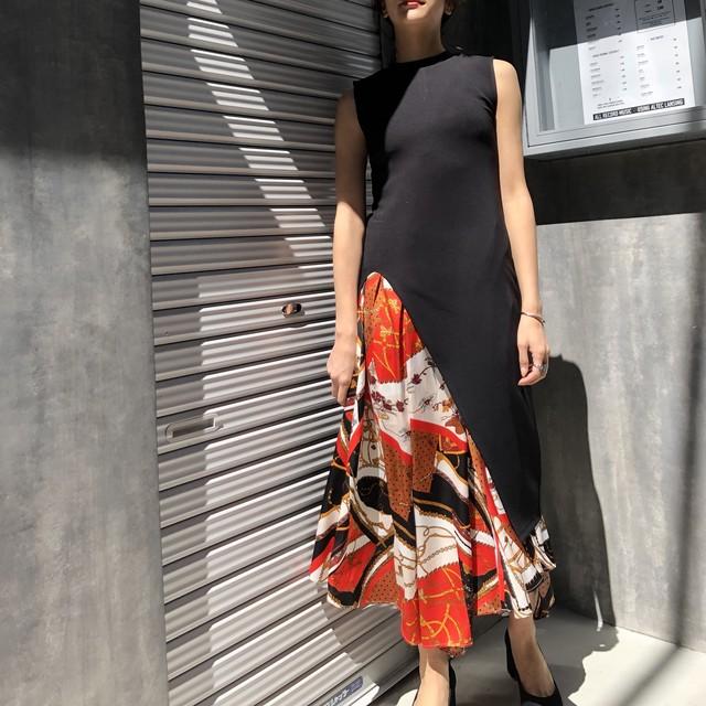 Vintageスカーフ柄アシンメトリーイレギュラーロングスカート