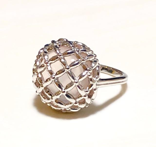 【受注生産】SILVER925 ローズクォーツヴィンテージボタン風リング rose quartz vintage button ring