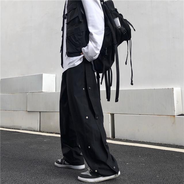 【ボトムス】カジュアルスナップボタンストリート系ブラックストリート系パンツ38434462
