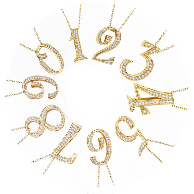 s925 Iced Out Number Necklace 【24k GOLD】