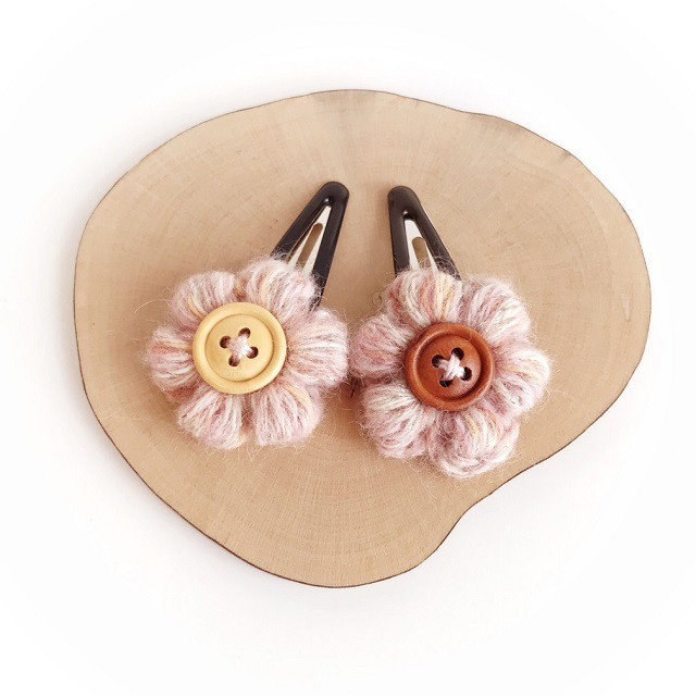 ふかふか小花のスリーピンセット*ピンク