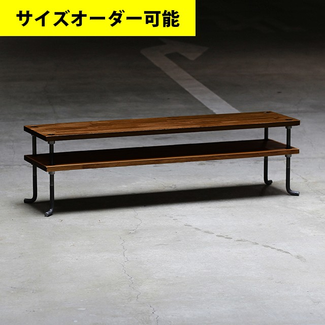 IRON FRAME LOW SHELF 142CM[OAK COLOR]サイズオーダー可