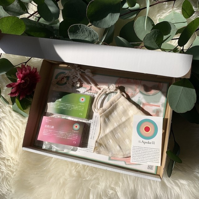 Botanical マスク&石鹸ギフト WhiteFlower(外側白・内側ピンク・紐白)