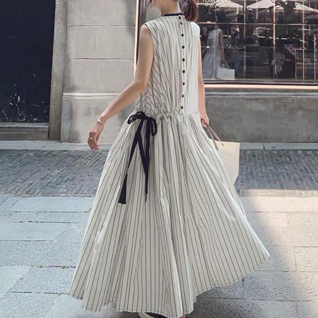 【ワンピース】美人度アップファッションストライプエレガントノースリーブロング切り替えデートワンピース44352256