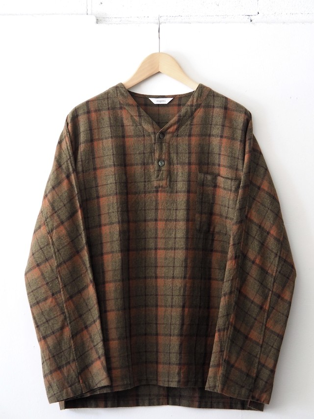 FUJITO Henley Neck Shirt Olive Check,Charcoal