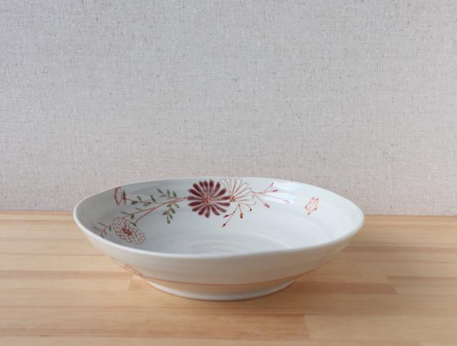 赤花 盛鉢 (色絵遊限定)