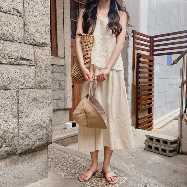 【set】【単品注文】森ガールノースリーブレーズ小柄タンクトップ/ショートパンツ/Aラインスカート