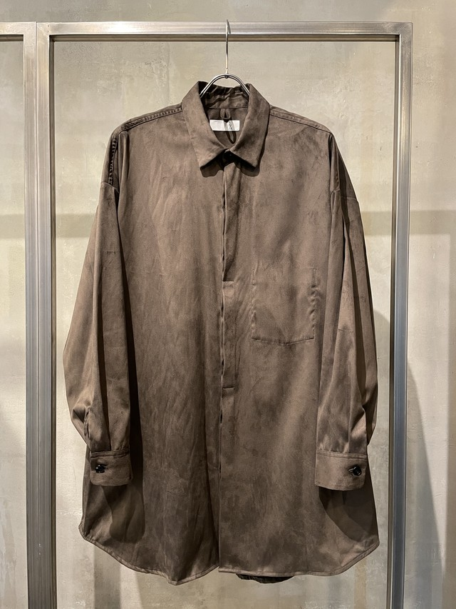 T/f Lv4B tech suede oversized shirt - burnt