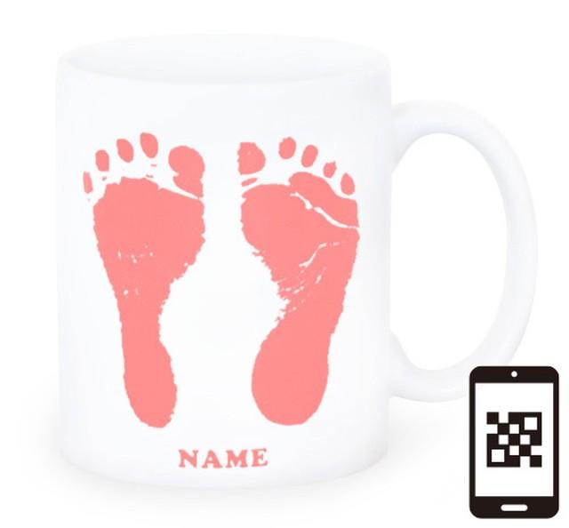 ai mug -white  A-type (PINK) QRコード付き