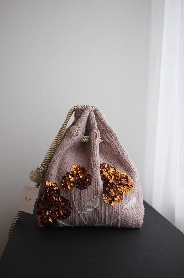 oru weaving bag ビーズ刺繍巾着 ピンク