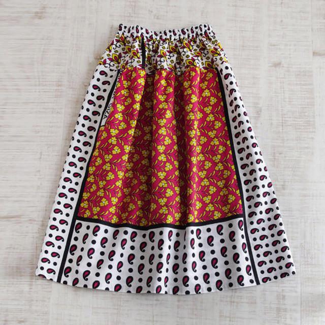 カンガのヨーク付きスカート|アフリカ布スカート