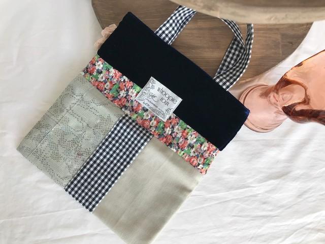 Upcycled KIMONO bag <navy flower>