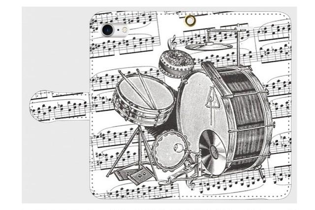 (iPhone用)ドラムの手帳型スマホケース(楽譜)