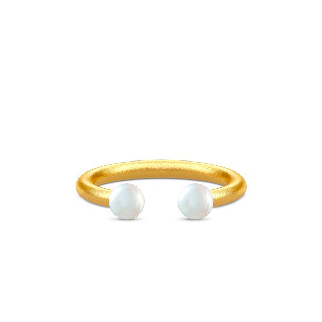 JULIE SANDLAU PERLA OPEN RING  WHITE PEARL