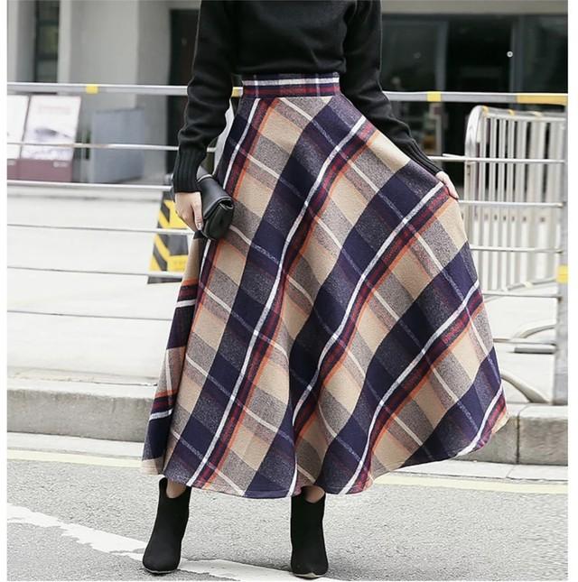 ◆予約◆8colors チェックフレアスカート