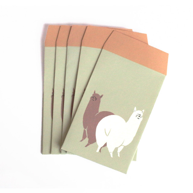 アルパカ型抜きメッセージカード[ホワイト&ブラウン]