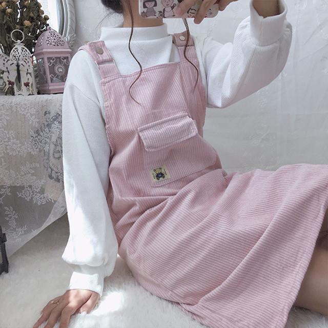 パステルなコーデュロイのジャンパースカート【FS1734】