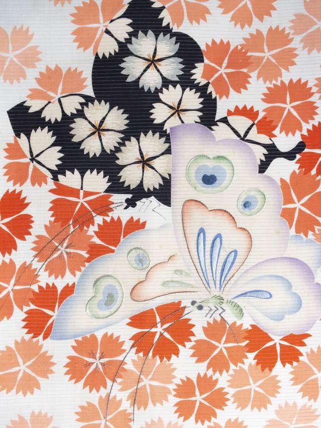 水色 撫子と蝶 仕立て直し絽名古屋帯