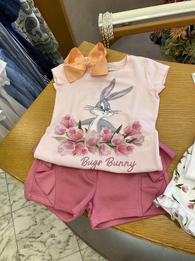 MONNALISA バッグスバニー柄ピンクTシャツ 3才~12才 モナリザ