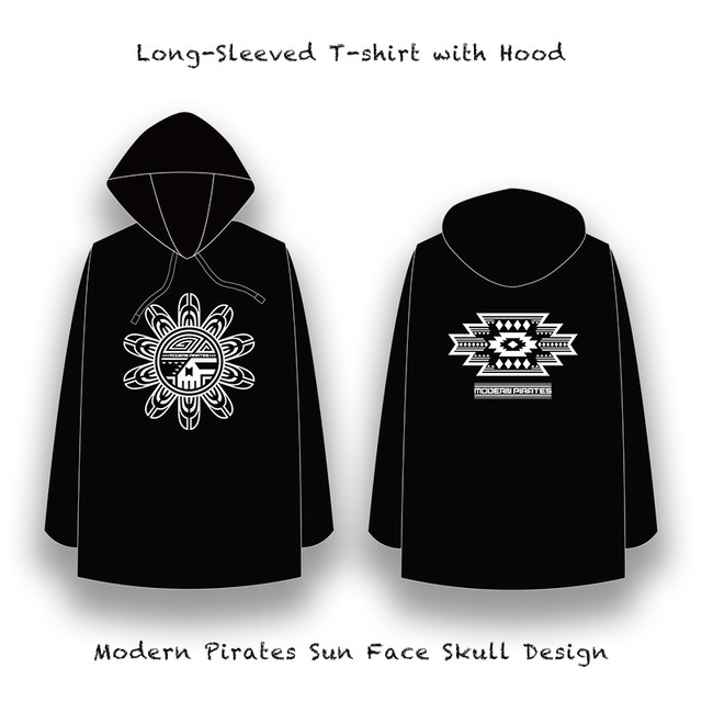 Long-Sleeved T-shirt with Hood / Modern Pirates Sun Face Skull Design
