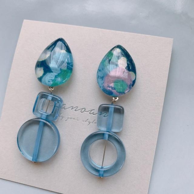""" Earrings NO.danoan-8″ アシメフランスビーズとリバティ"
