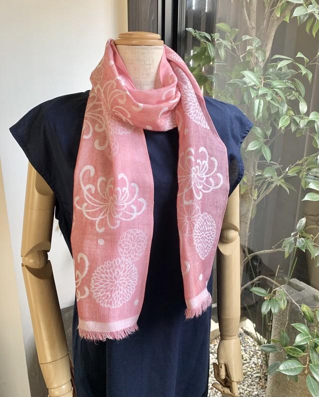 三重織スカーフ 菊模様 桃色