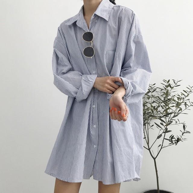 ◆即納◆ ストライプ柄 ビッグシルエット ロングシャツ c112