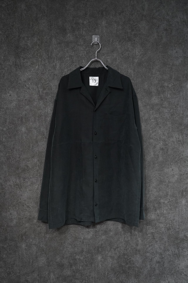 room13 Open Collar Shirt [ set up ] Black