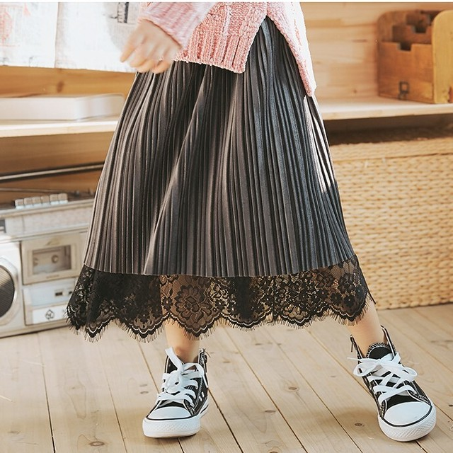 110~160cm 2カラー ★ レース プリーツ リバーシブル ロング スカート