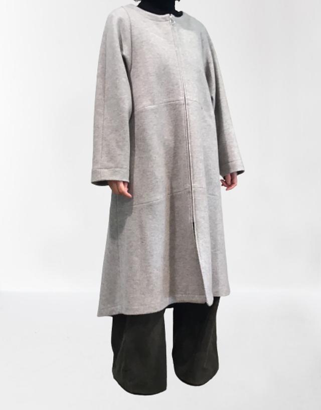 【人気商品】圧縮ウールコートドレス【207-7217】