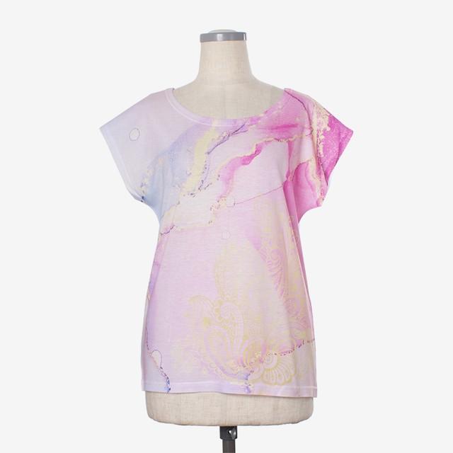 ヨガプリントTシャツ マーブル1 Yoga print T-shirt Marble1