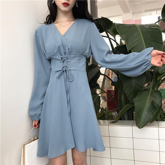 パフスリーブ袖 韓国ファッション ミニワンピース 2カラー SHD280701