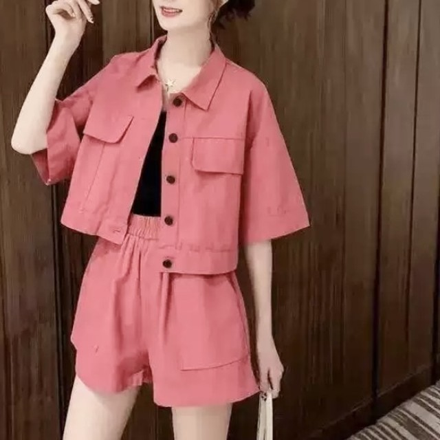 シャツ × ショートパンツ シンプル 2set 2色 B7124